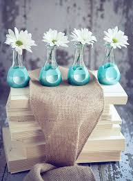 glass vases decorating turquoise