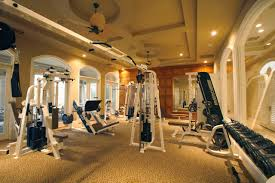 home gym lighting. Double Ceiling Fan And Recessed Lighting Also Coffered In Traditional Home Gym Design With Patterned