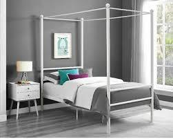 CANOPY BED FRAME Platform Twin Size Princess Girls Kids Bedroom Furniture White
