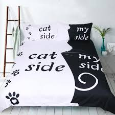 fanaijia cat bedding set 3d black and white cat print duvet cover set with pillowcase bedding queen size bed line duvet bedding duvet covers from