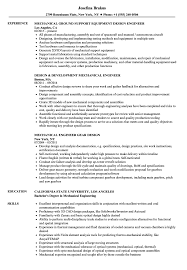 Mechanical Engineer Design Resume Samples Velvet Jobs