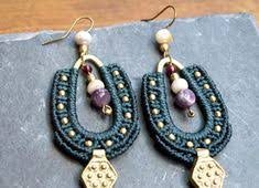 Big drop gyspy macrame earrings <b>boho chic</b> jewelry <b>bohemian style</b> ...