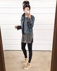 tunic denim jacket similar here leggings wedge sneakers go up half a size