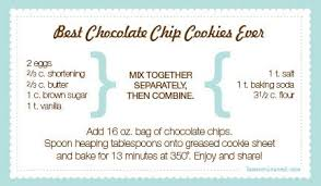 chocolate chip cookies recipe card. Interesting Chip Chocolate Chip Cookies With Chocolate Chip Cookies Recipe Card T
