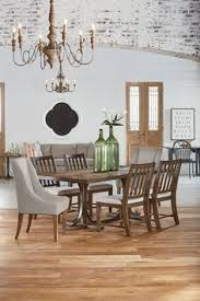 trestle dining table with 4 revival side chairs and 2 french host chairs by magnolia home by joanna gaines