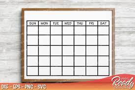 Calendar Template Png Monthly Calendar Template Vector Clip Art Cutting Files Dxf