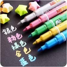 senarai harga 5 pcs metal color marker pen signature markers for cd ceramic leather wood glass sbooking school drawing art supplies cb553 terbaru di