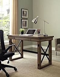 rustic grey gray wood metal modern computer writing desk home office