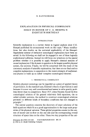 explanation in physical cosmology essay in honor of c g inside