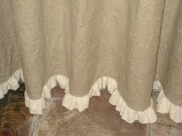 ruffled linen shower curtain lined with hem your color choice burlap ruffle