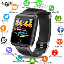LIGE <b>2019 New Smart Watch</b> Heart Rate Blood Pressure Monitor ...