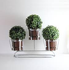 vintage  pot chrome planter  mid century modern home decor
