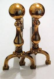 two brass fireplace andirons