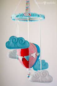 hot air balloon mobile aqua red white