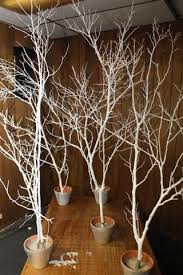 christmas and or winter decoration white trees with a little sparkle and silver base fill base with sand rocks or dirt decorate sparingly if desired