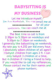 Sample Babysitting Flyer This Is An Example Of A Flyer But Add Your Name And Age To It