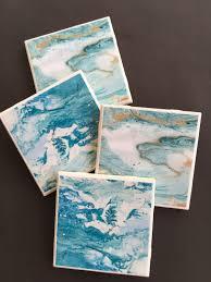 Decorative Tile Coasters Blue Marble Coasters Ceramic Tile Coasters Coaster Set Drink 58