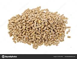 Pile of compound feed pellets isolated on a white background — Stock ...