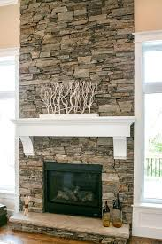 faux stacked stone fireplace surround white mantle mantel dry design stack fireplaces