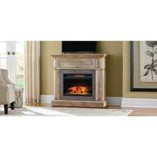 mantel console infrared electric fireplace in natural beige driftwood finish in 39