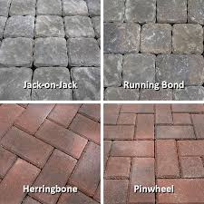 jack on jack running bond herringbone and pinwheel paver patterns