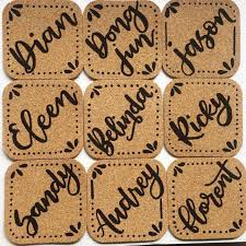 Custom cork coasters Wedding Gifts Share This Listing Customized Cork Coasters monogramscalligraphy Design Craft