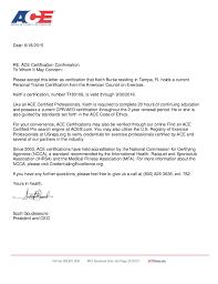 certification letter ace certification letter