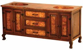 Custom spanish style furniture Spanish Revival Copper And Reclaimed Wood Large Vanity Spanish Style Vanities Copper Vanity Custom Size Layouts
