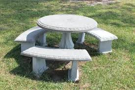 outdoor concrete table and benches table bench
