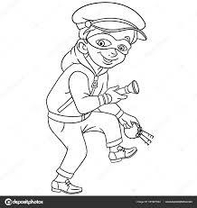 Kleurplaat Cartoon Strafrecht Thief Met Huis Bank Sleutels