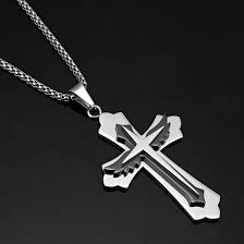 spiritual angel wings stainless steel mens cross pendant necklace