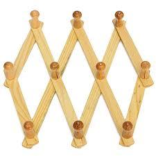 10 peg wooden hanger expandable coat rack hat closet hook expanding fold durable