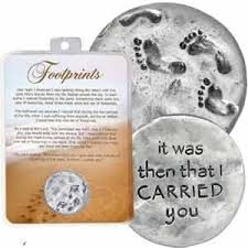 1 1 4 pewter footprints in the sand n with verse it