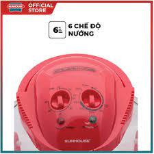 Lò nướng thủy tinh 12 lít Sunhouse SH416 đỏ - Lò vi sóng