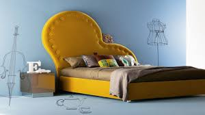 Creative And Unique Unusual Upholstered Headboard With Yellow Cover For King  Size Low Profile Bed With Stainless Steel Square Nightstand Ideas