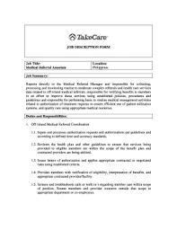 Fillable Online Job Description Form Job Title Medical