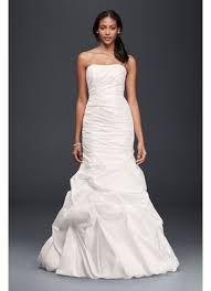 taffeta mermaid wedding dress with skirt pickups david s bridal