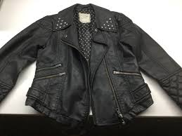 girls black faux leather biker jacket from next age 7 to 8 year s