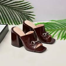 2019 womens luxury designer high heel slippers summer brown black leather slides fashion sandals women mid heels dress slipper loafers for women clogs for