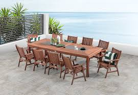 outdoor wood dining table. Frontier. 11 Piece Outdoor Setting Wood Dining Table