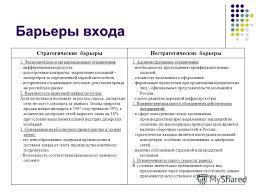 Презентация на тему КУРСОВАЯ РАБОТА Разработка стратегии  6 6 Барьеры входа Стратегические барьерыНестратегические