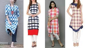 Kurta Designs To Wear With Jeans Latest Check Print Kurti Designs To Wear With Jeans Plaid Tunic Tops For Jeans And Leggings
