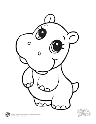 Small Picture Learning Friends Hippo baby animal coloring printable from