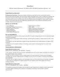 Digital Marketing Specialist Resume Templates At