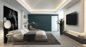 bedroom side view. Contrast Blue-grey Bedroom Side Wall Accent Wall. Creating Interior View
