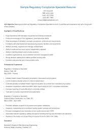 Sample Regulatory Compliance Specialist Resume Regulatory