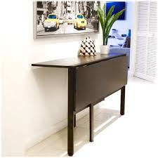 Use Dark Folding Dining Table On White Painted Wall For Interesting Room  With Tile Flooring