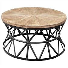 picture of sandgate hand crafted 90cm iron round coffee table with timber top