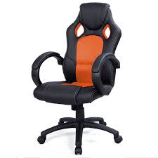 picture of desk office chair race car style bucket seat orange
