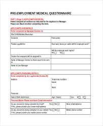 Sample Medical Questionnaires For Employees Vidracaria Xyz